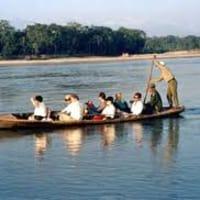 Sailing Local Wooden Boat in Narayani River