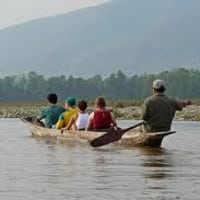 Sailing Local Wooden Boat in Narayani River